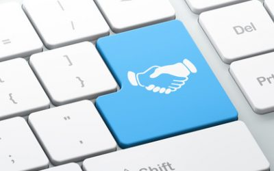 Business concept: Enter button with Handshake on computer keyboard background, 3d render